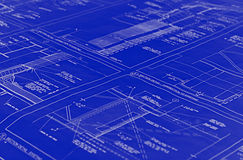 Blueprints. A blue blueprint with white lines and text Stock Photo