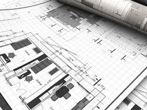Blueprints. 3d illustration of blueprints background Stock Photos