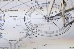 Blueprints. Blueprint diagrams close up with compass Royalty Free Stock Images