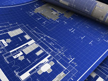 Blueprints. Abstract 3d illustration of blueprints background Stock Photos