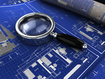 Blueprints. 3d illustration of blueprints with magnify glass Stock Photo