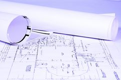 Blueprints. House plans, concept of home architecture Royalty Free Stock Images