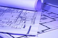 Blueprints. House plans, concept of home architecture Stock Photos