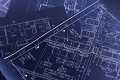 Blueprints. House interior design,concept of home architecture Royalty Free Stock Photos