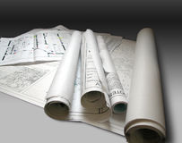 Blueprints. Photo of architectural building plans Stock Photo