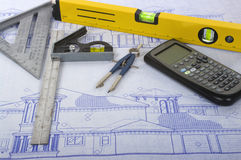 Blueprints. Tools like calculator, compass, level and more Royalty Free Stock Photo