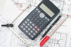 Blueprints. Drawing tools and calculator on blueprints Royalty Free Stock Photography