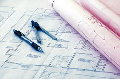 Blueprints. Phto of Blueprints and Related Items Stock Photo