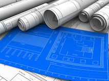 Blueprints. Abstract 3d illustration of blueprints of building Stock Photography
