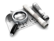 Blueprints analyzing. 3d illustration of blueprints and magnify glass Stock Image