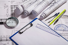 Free Blueprints And Drawing Tools Royalty Free Stock Photo - 36753375