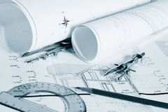 Blueprints  architectural drawings Royalty Free Stock Photography