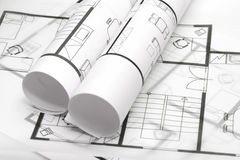 Blueprints of architecture Stock Image