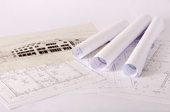 Blueprints. Architecture blueprints on a desk Royalty Free Stock Photo