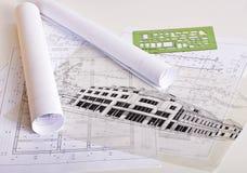 Blueprints. Architecture blueprints on a desk stock photos