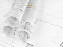 Blueprints. Architecture blueprints on working table Royalty Free Stock Photos