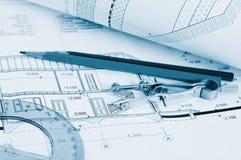 Blueprints Architekturzeichnungen stockfoto