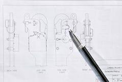 Blueprints with ballpoint pen Stock Photography
