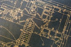 Blueprints-blue. Static close up photo of old house blueprints Royalty Free Stock Photography