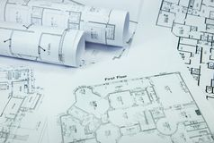 Blueprints in blue hue Stock Images