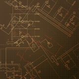 Blueprints with boiler house. Construction of steamshop. Engineering vector illustrations. Technical draw Stock Photos