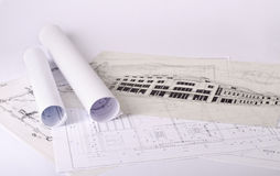 Blueprints of a building Royalty Free Stock Photos