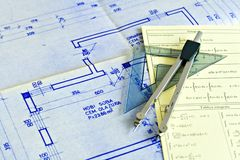 Blueprints and charts Stock Image