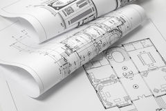 Blueprints. Close up of blue prints from angle Royalty Free Stock Photos