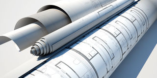 Blueprints close up 3d illustrated Royalty Free Stock Images