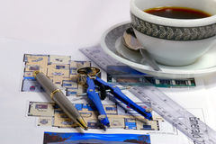 Blueprints and coffee Stock Photo