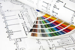 Blueprints and color card Stock Photography