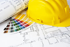 Blueprints and color swatch stock images