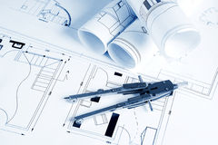 Blueprints and compass Royalty Free Stock Image