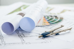 Blueprints And Compass Stock Photography