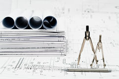 Blueprints and compasses Royalty Free Stock Photos