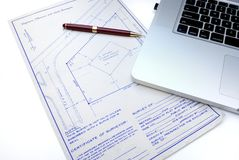 Blueprints and Computer Stock Photo