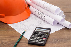 Blueprints and Construction tools Stock Image