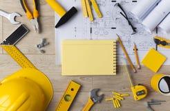 Blueprints and Construction tools Stock Photos