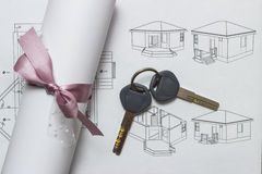 Blueprints And Contract Royalty Free Stock Images