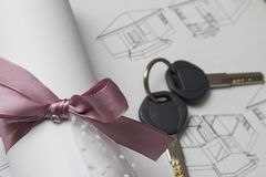 Blueprints And Contract Royalty Free Stock Photo