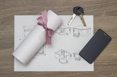 Blueprints And Contract Stock Photo