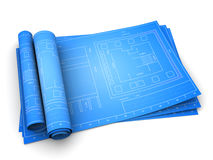 Blueprints. 3d illustration of rolled blueprints of building, over white background Stock Images
