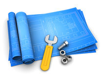 Blueprints. 3d illustration of rolled blueprints with wrench and nuts, over white background Royalty Free Stock Photo
