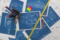 Blueprints On Desk Stock Image