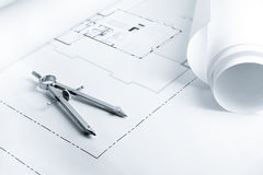 Blueprints with Drawing Compass Royalty Free Stock Image