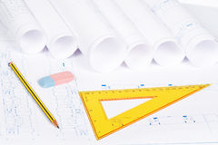 Blueprints and drawing tools Stock Photo