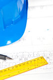 Blueprints and drawing tools Royalty Free Stock Photo