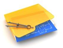 Blueprints folder. 3d illustration of blueprints folder over white background Royalty Free Stock Image