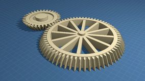 Blueprints and gears Stock Photos