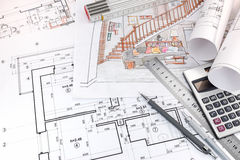 Blueprints and hand drawn sketches of living room interior and d Stock Images